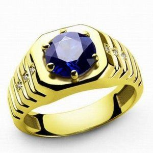YELLOW GOLD  with BLUE / WHITE SAPPHIRES